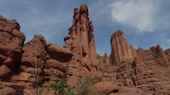 Panning shot of rock formations at Fisher Towers / Fisher Towers, Utah, United Stock Footage