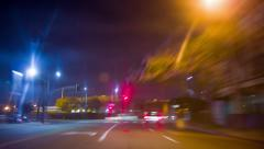 POV driving at night through Los Angeles city downtown, California. Timelapse. - stock footage