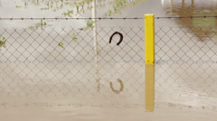 Flooded wire fence with hooked horseshoe. Symbol of happiness in unhappy moment. Stock Footage