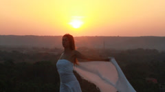 Beautiful Girl With White Scarf. - stock footage