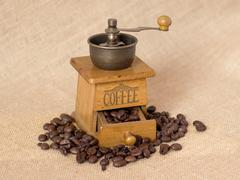 Antique Manual coffee grinder - stock photo