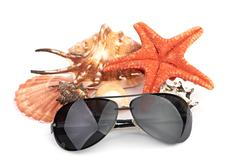 Sun glasses on sea star and shell Stock Photos
