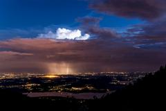 thunderstorm over plain of varese - stock photo