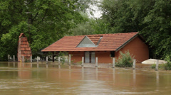Flooded house. Destroyed household. Damaged home after big storm and floods. Stock Footage