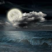Moon reflected in water wavy surface Stock Illustration