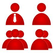 Red users icons - stock illustration