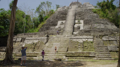 Medium shot of tourists at High Temple / High Temple, Lamani, Belize, Stock Footage