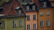 Panorama of old town in Warsaw (unesco heritage site in Poland). Stock Footage