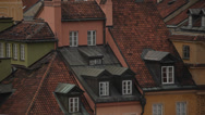 Cityscape of roofs in the old town in Warsaw (unesco heritage site in Poland). Stock Footage