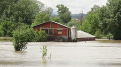 Flooded farm. Ecological disaster. Damaged household after storm and floods. - stock footage