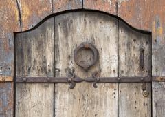 antique wooden door - stock photo