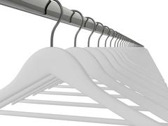 White clothes hangers isolated - stock illustration