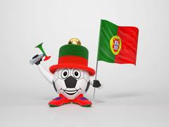 soccer character fan supporting portugal - stock illustration