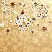 Beige background with christmas balls. EPS 8 Stock Illustration
