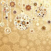 Beige background with christmas balls. EPS 8 - stock illustration