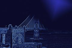 Golden Gate Bridge with enhanced contours and moon light Stock Photos