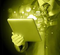 Business man using tablet PC Stock Illustration