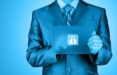 Businessman pushing virtual security button Stock Illustration