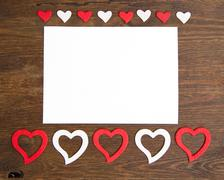 Valentine card with hearts Stock Photos