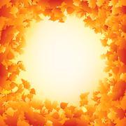 Orange autumn leaves frame design. EPS 8 Stock Illustration