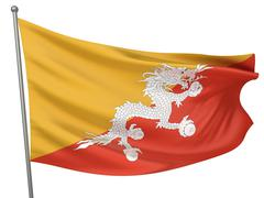 Bhutan National Flag - stock photo