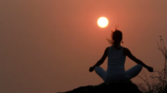 Sunset meditation. Stock Footage