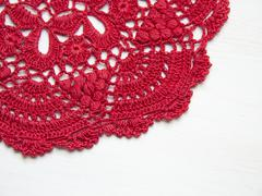 Red crochet doily - stock photo