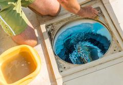 Control filtration system pool Stock Photos