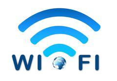 Wireless network blue symbol with earth Stock Illustration