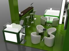 Exhibition Stand Interior Sample - Interiors Series  . 3D - stock photo