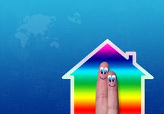 house with two fingers inside - stock illustration
