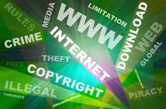 Internet texts copyright conception - stock illustration