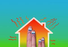 House with high heat loss and fingers family Stock Illustration
