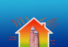House with high heat loss illustration Stock Illustration