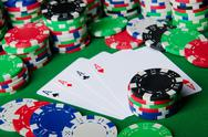 Many cards and casino chips Stock Photos