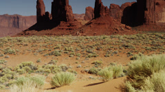Panning wide shot of rock formations in Monument Valley / Totem Pole, Monument Stock Footage