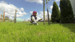 Little Girl Playing with sprinkler - stock footage