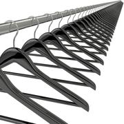 Black clothes hangers isolated on white - stock illustration