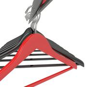 Black and red clothes hangers isolated on white - stock illustration