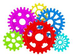 Color gears on white Stock Illustration