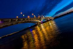Bridge on a quiet night, tilted horizon Stock Photos