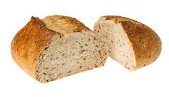 artisan whole wheat bread isolated against white - stock photo