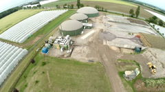 Aerial of a Biogas Plant - stock footage