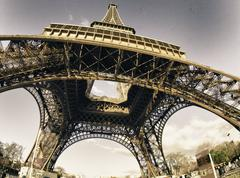 Colors of Eiffel Tower in Winter - stock photo