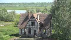 Abandoned house in countryside, Demolished building, Ruins Stock Footage