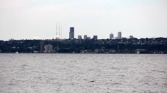 Seattle skyline across Lake Washington Stock Footage