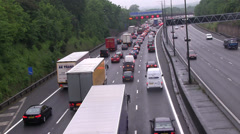 Traffic Jam, cars and trucks slowing to a halt Stock Footage