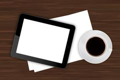 Stock Illustration of tablet and coffee on office table