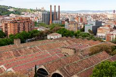 view from top of columbus statue in barcelona - stock photo