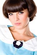 attractive brunet woman - stock photo